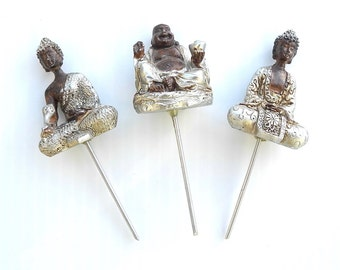 Buddha Set of 3 for Miniature Zen Garden, Meditation Garden, Comfort Garden, Prayer Prayer Garden or Personal Altar, Nice Detail & Staked