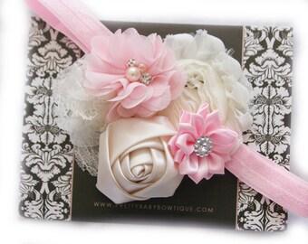 SALE Baby Headband - Baby Pink and Cream Headband - Infant Girl Headband - Baby Photo Prop - Baby Couture Headband