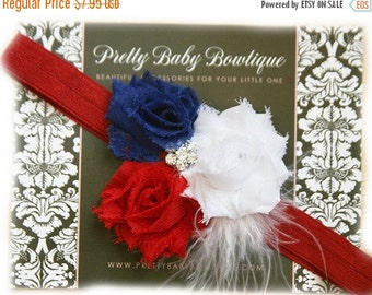 SALE Red White and Blue Baby Headband - Girl Fourth of July Flower Headband Patriotic Bow On Stretch Headband