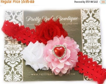 SALE Pink Heart Baby Headband- Baby Girl Headband - Pink and Red Valentines Flower Headband -Baby Headband - Photo Prop