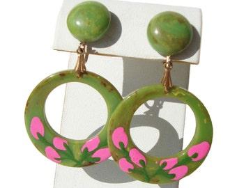 Vintage Bakelite Earrings Pink Painted Flowers Green Marble Hoops