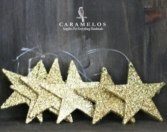 "6 Glittered Gold Star Ornaments 2"""