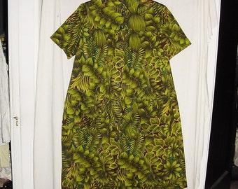 Vintage 60s Green Barkcloth Muu Muu Dress M Leaf Print Handmade