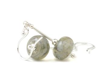 Grey Glass Earrings | Lampwork Earrings | Lampwork Glass Earrings with Sterling Silver | UK