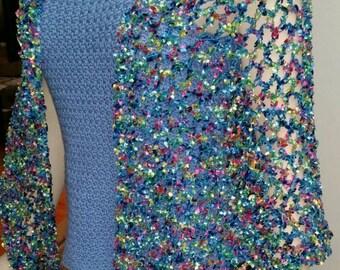 Crochet Ribbon Triangular Shawl