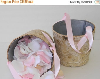 10% off ends at 5pm Flower Girl Basket + Birch Flower Girl Basket with Ribbon Handle