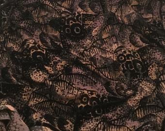 Sparkle Black & Beige Circles - Burnout Silk Velvet Fabric - fat 1/4