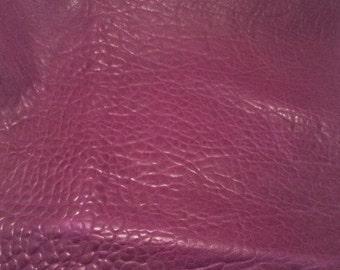 ON SALE EGGPLANT Purple Bubbled Lambskin Leather Hide Piece #1