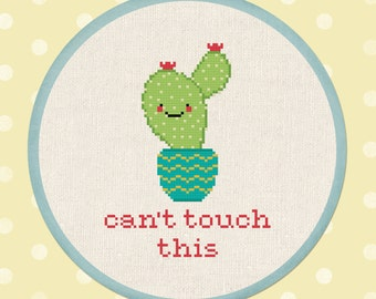Can't Touch This Cactus. Modern Simple Cute Cross Stitch Pattern PDF File. Instant Download