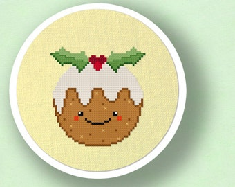Christmas Pudding. Happy Dessert Cross Stitch PDF Pattern