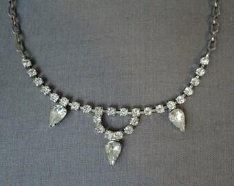 Vintage 1950s Rhinestone Necklace, Vintage Costume Jewelry, 16 inch choker