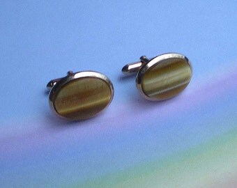 Vintage 60s Swank Oval Tigereye Cufflinks