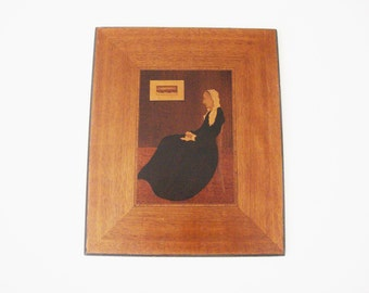 vintage wood marquetry whistlers mother frederick kemp wood inlay