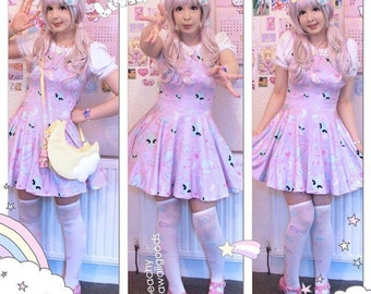 Trixie Alien Bear Dress, Pastel Pink Alien Dress, Pastel Alien Dress, Space Babe Dress, Kawaii Alien Dress