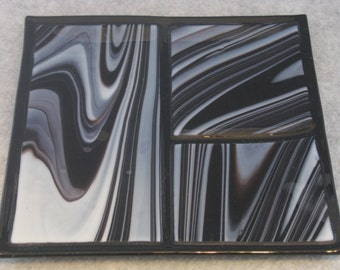 Elegant Licorice Swirl Fused Glass Serving Platter 8 x 8       made with Spectrum Opal Art Glass