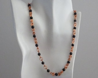 Winding Road Copper Necklace with Jet Black Swarovski Crystals