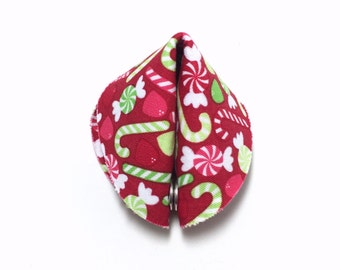 Candy Canes and Gumdrops Fabric Fortune Cookie.  Add your own fortune!