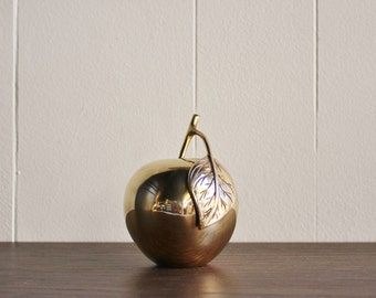 Large Vintage Brass Apple Paper Weight