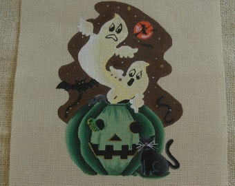 Needlepoint canvas - Halloween ghosts and pumpkin