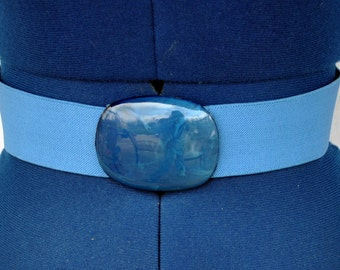 Vintage Wide Royal Blue Stretch Belt with Matching Marbelized  Buckle