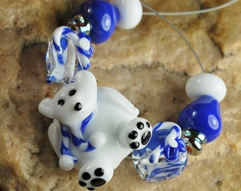 Glass Lampwork Beads, Christmas Beads, Polar Bear, Candy Canes, Christmas Lights, SRA #953 by CC Design
