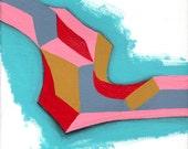 Abstract hypercubist graffiti acrylic on canvas (Hypercubist Abstract #2)