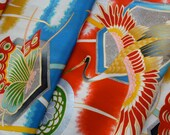 Vintage Japanese Kimono Fabric - Crane and Butterfly in Flight