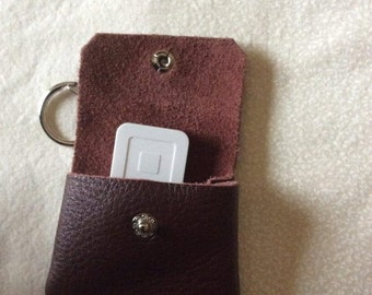 Leather Credit Card Reader Keychain Case