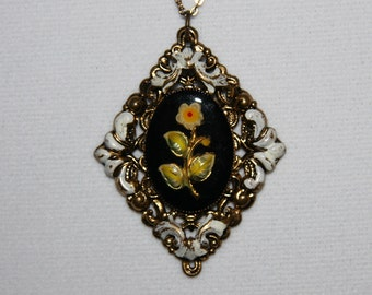 Antique Hand Painted Enamel Floral Oendant Necklace