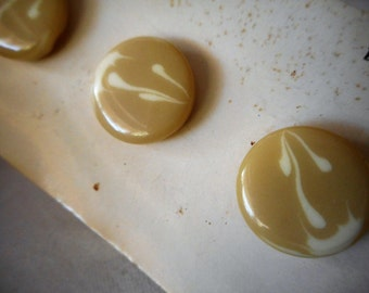 Set of 4 VINTAGE Water Color look Plastic BUTTONS