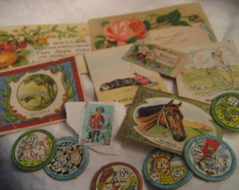 Lot of VINTAGE Paper Scrapbooking Collage Calling Card Paper Empherema