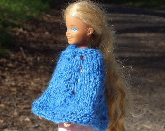 Skipper Doll Poncho - Knitted -  Royal Blue Color Color - Pattern same as my Girl's Poncho