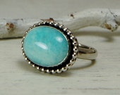 Gorgeous Amazonite Ring Aqua Sterling Silver Ring