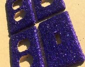 FLASH SALE Violet Purple Glitter Switchplate Outlet Double Triple Quad Rocker Blank Cable Dimmer