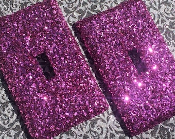 Hot Pink Glitter Switchplate Outlet Double Triple Quad Rocker Blank Cable Dimmer