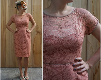 Vintage 60s Dusty Rose Pink Lace Wiggle Dress with Illusion Bodice and Ruffled Bustle by Ferman O'Grady | Medium