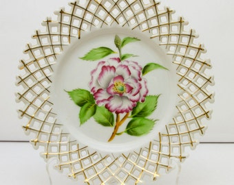 Vintage Hand Painted Plate, Rossetti Chicago, Occupied Japan, White and Pink Rose, Floral Plate, Decorative Plate, Wall Plate, Floral Plate