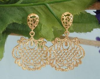 Matte Gold Filigree Ornament Stud Dangle Bridesmaid Gift Earrings.