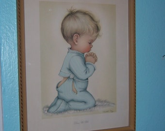 Framed Vintage Print Bless Us All by Charlotte Byj 18 inches by 14