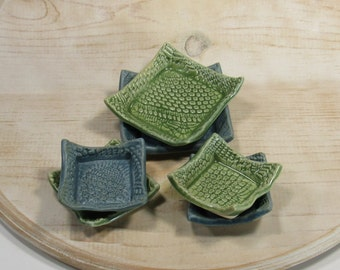 Set of 6 blue and green trinket dishes - handmade pottery