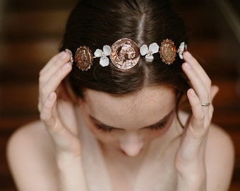 Roman coin headpiece, bridal hair band - Independent Spirit no. 2148