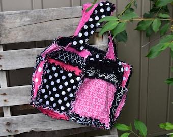 Girl Diaper Bag - Black / Pink Diaper Bag - Large Diaper Bag - Rag Purse - Baby Diaper Bag - Black Diaper Bag- Rag Quilt Purse Nursery Decor
