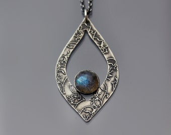 Etched Sterling Silver Vine Lace and Labradorite Necklace, sterling silver and gemstone pendant