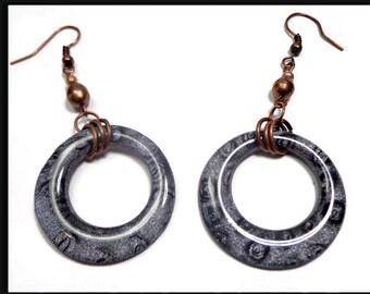 Black & Copper Ethnic Hoop Earrings-Resin Earrings- Polymer clay earrings- Freshwater Pearl Earrings