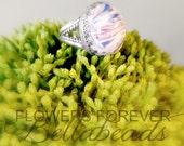 Flower Petal Jewelry, Memorial Ring, Memerial Handmade Beads, Rememberance Jewelry, Pet Memorial, Memorial Gift Idea, Karbella Ring