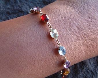 Bracelet, Rhinestone Bracelet, Multi Stone Bracelet, Gold Tone Bracelet, Gemstone Bracelet, NRT Bracelet, NRT Jewelry