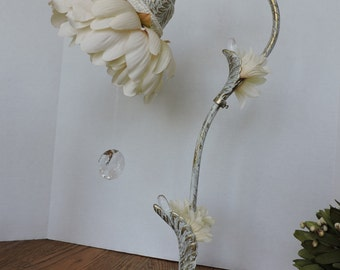 Upcycled Cottage Flower Display with Crystal Dangle