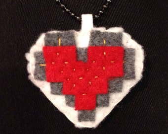 Felt Pixelated Red Half/Full Heart Necklace