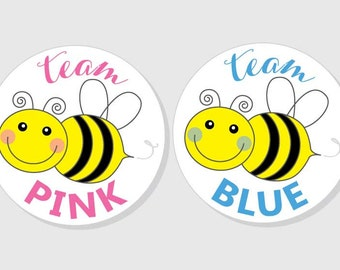 team pink team blue gender reveal baby shower stickers - yellow BUMBLE BEE - matte white finish - 1.5 inch - 2 inch - 2.5 inch - 3 inch