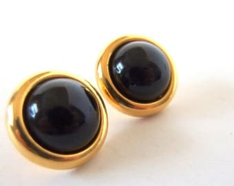 Vintage Earrings - Gold with Black Cabochon Dome Earrings, Gold Jewelry